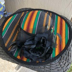 Striped Hat Flower Tulle Orange Black